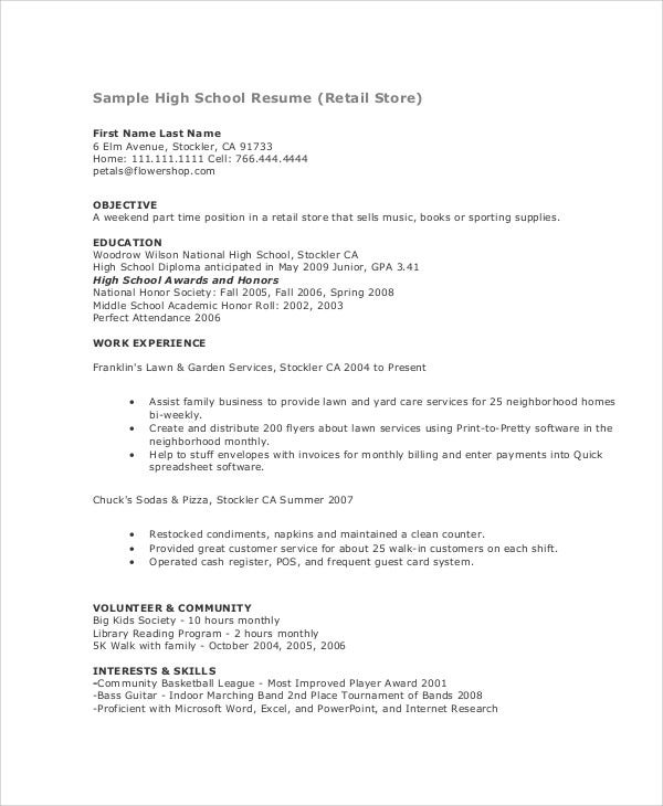 Teenage Resume Templates  Pdf Doc  Free  Premium Templates