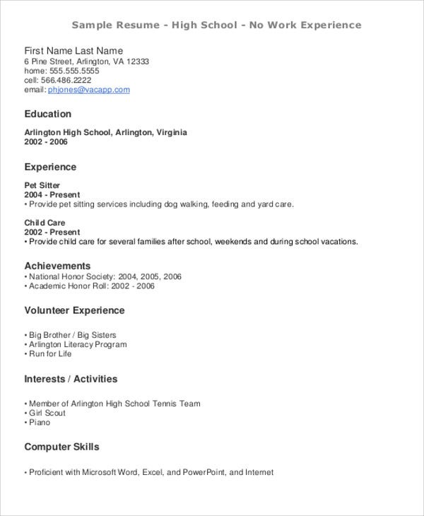Teenage Resume For Entry Level  Teen Resumes