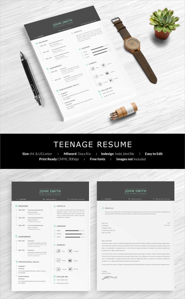 teenage resume
