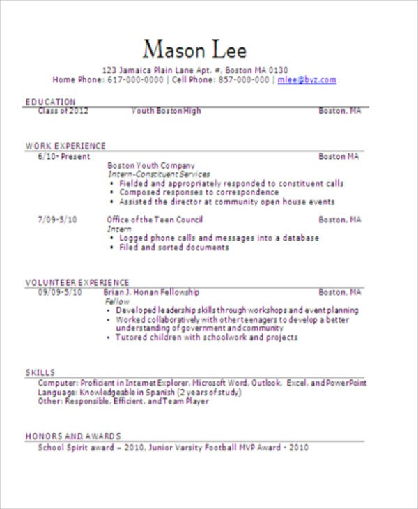 15+ Teenage Resume Templates - PDF, DOC | Free & Premium Templates