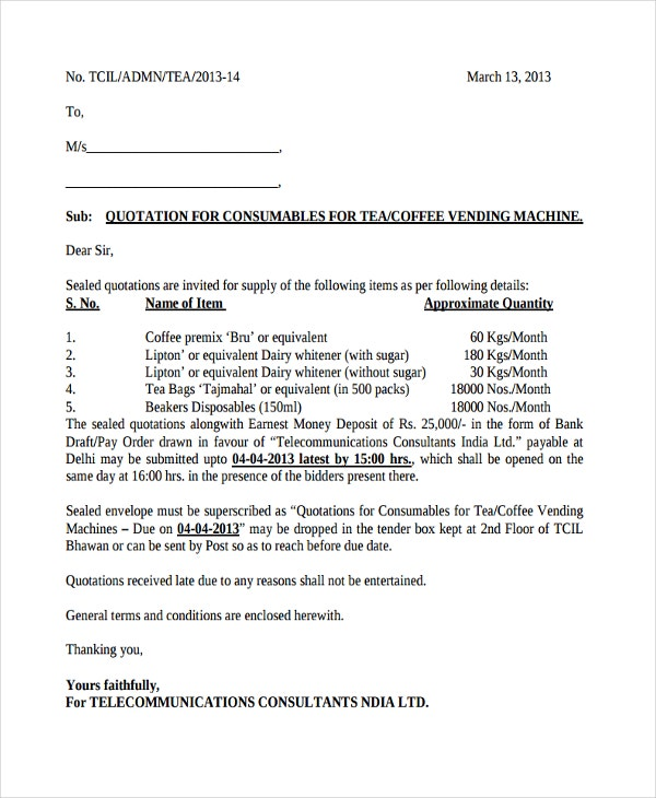 tender letter quotation