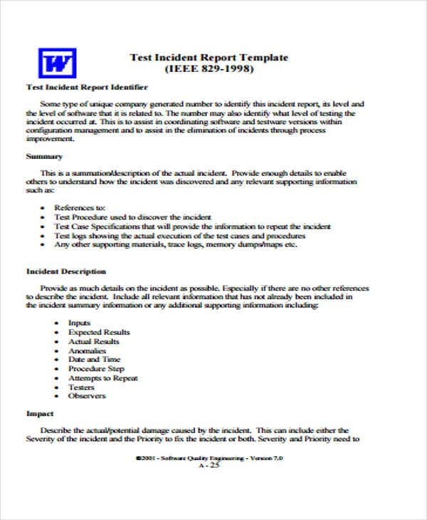 9 test report templates free sample example format for Testing procedures template