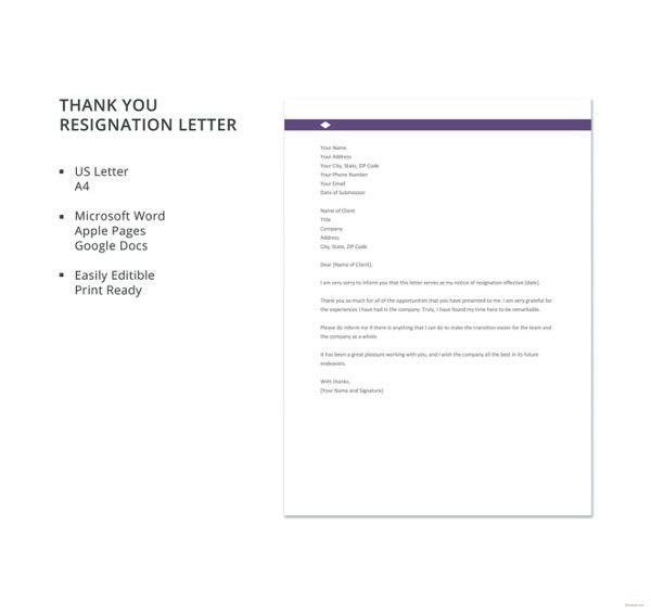 10 thank you resignation letters free sample example format