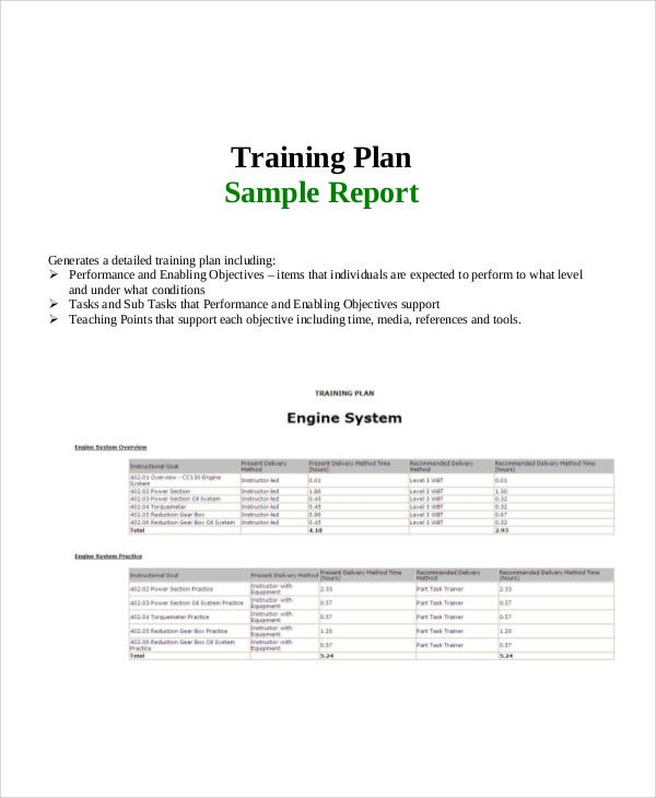 22 training report template free sample example format