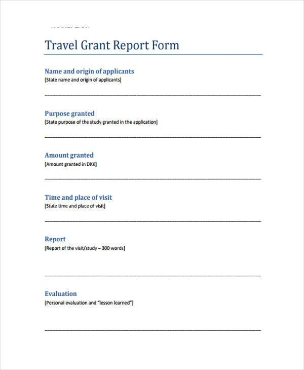 travel grant report template
