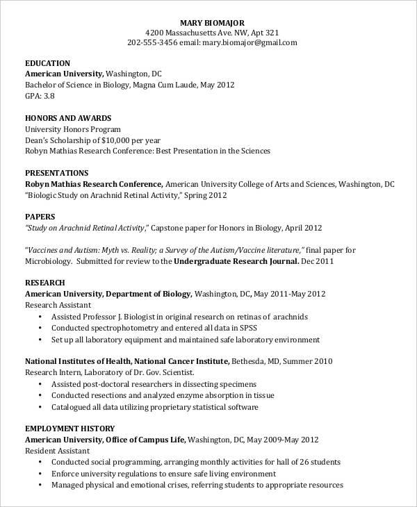undergraduate student curriculum vitae