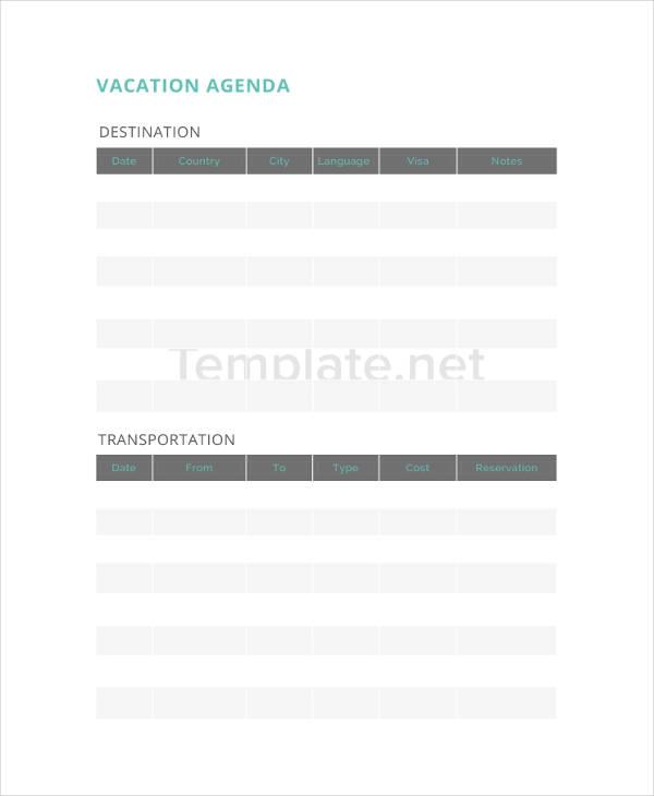 Vacation Agenda