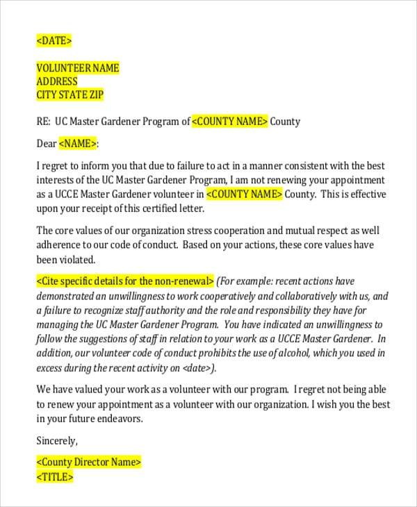 volunteer program rejection