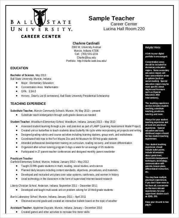 10 teaching curriculum vitae templates pdf doc free premium