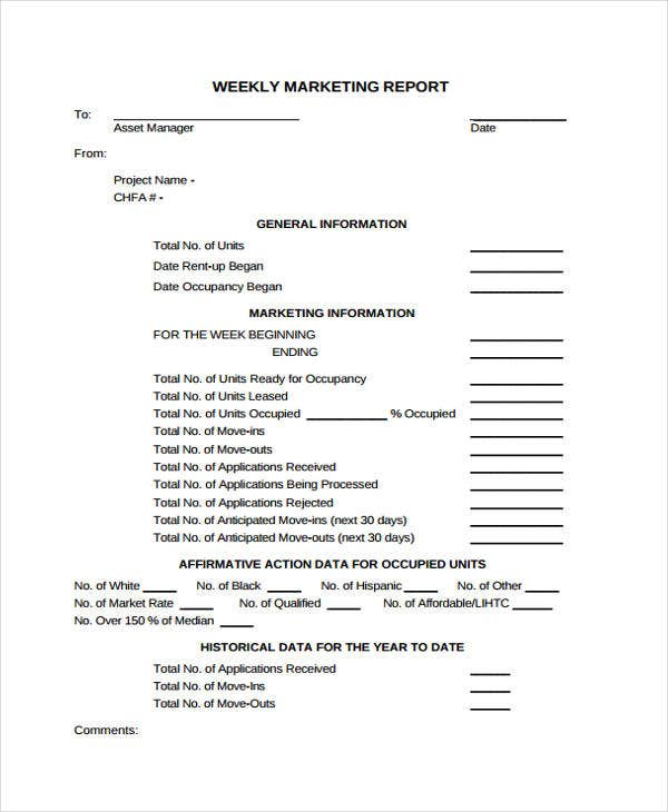 Marketing Report Templates  Free Sample Example Format