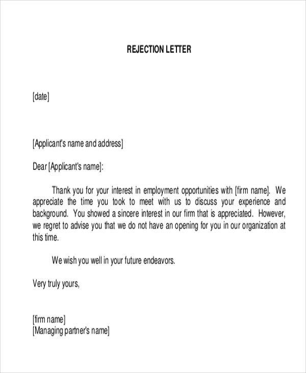 work experience rejection