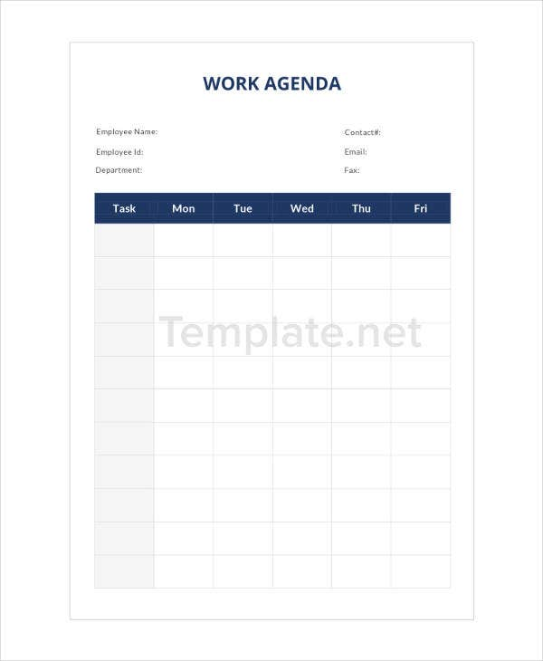 Work Agenda Sample