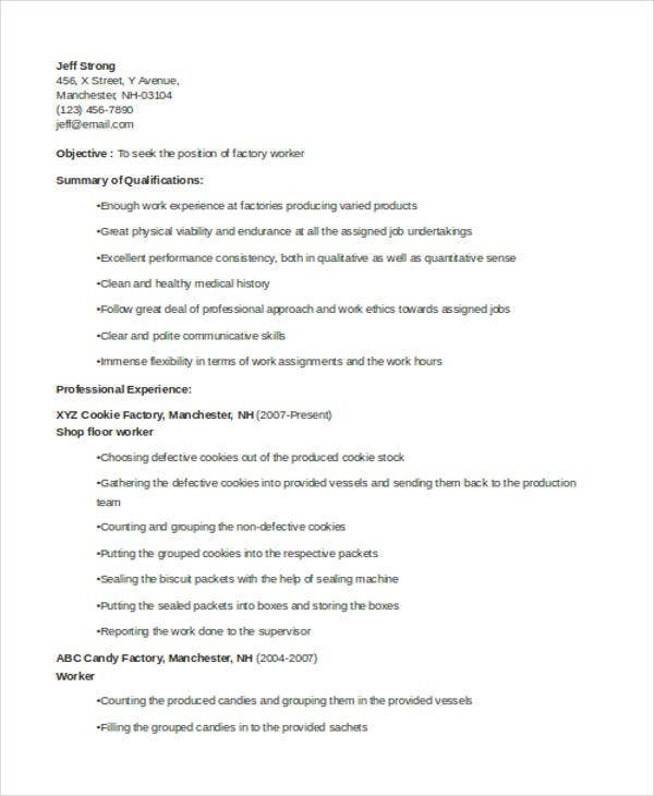 professional resumes factory worker production line worker resume monitoring and evaluation officer sample - Sample Resume Factory Worker