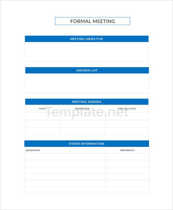 Formal Agenda