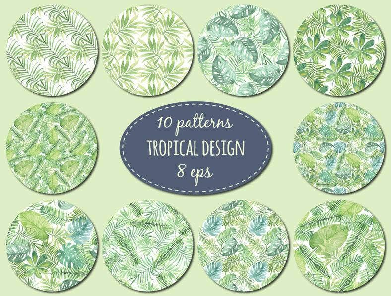 Tropical Pattern Watercolor Set