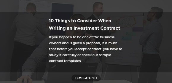 10 things to consider when writing an investment contract