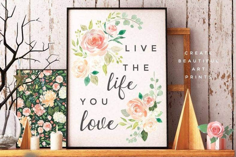 Watercolor Wall Art Typo