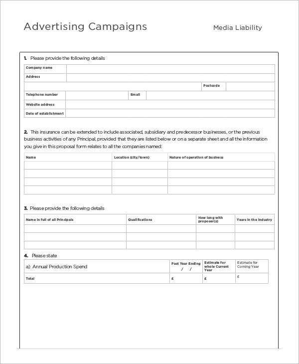 Advertising Campaign Proposal Form