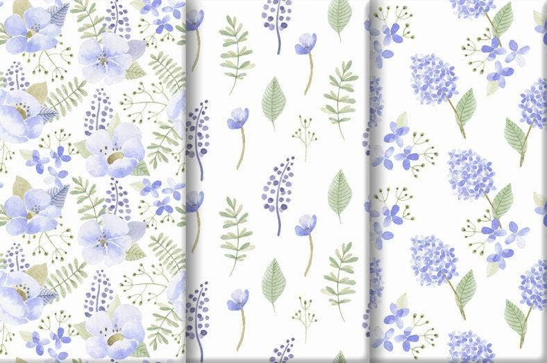 Violet Floral Watercolor Patterns