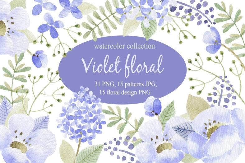 violet floral watercolor collection