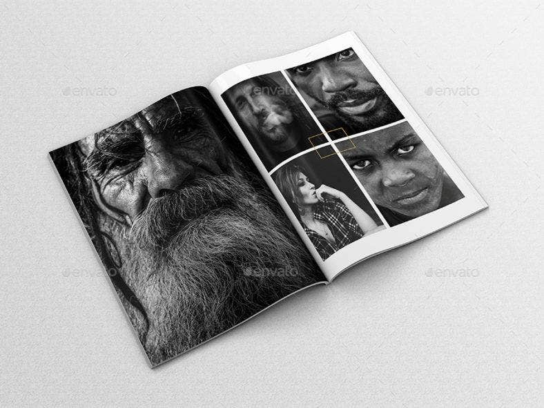 Black and White Portfolio Template Magazine