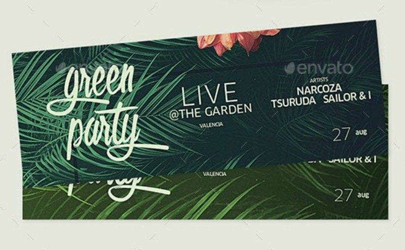 Green Party Tropical Ticket Design