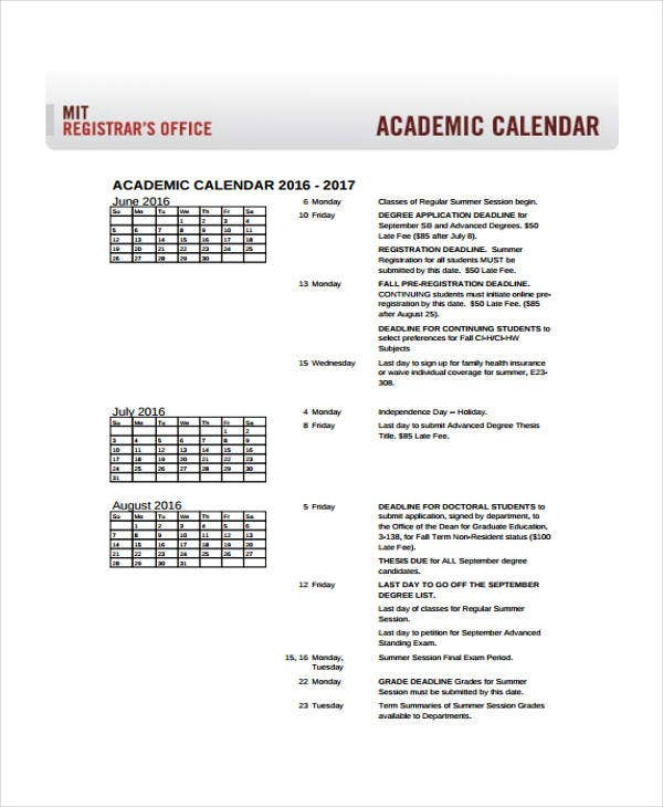 academic calendar sample
