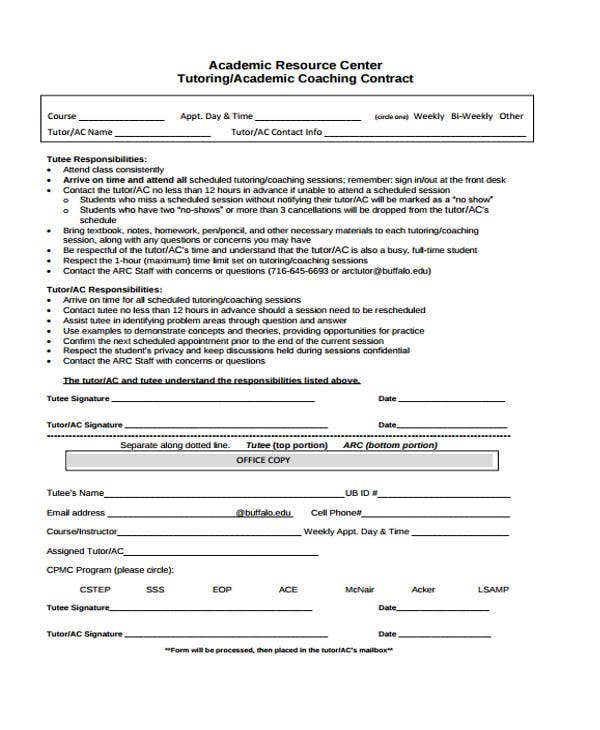 8 Coaching Contract Templates Free Sample Example Format – Coaching Contract Template