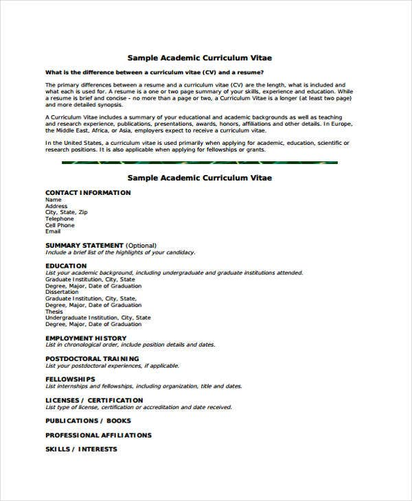 Academic Curriculum Vitae Templates  Free Sample Example