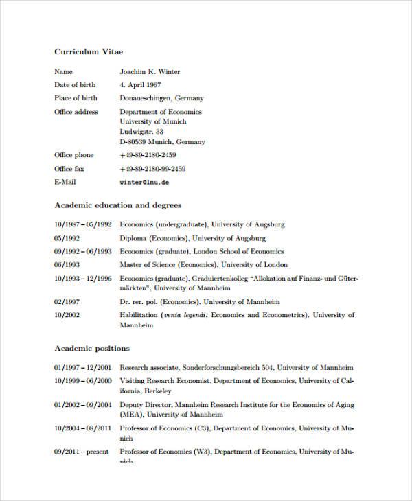 11 academic curriculum vitae templates pdf doc free