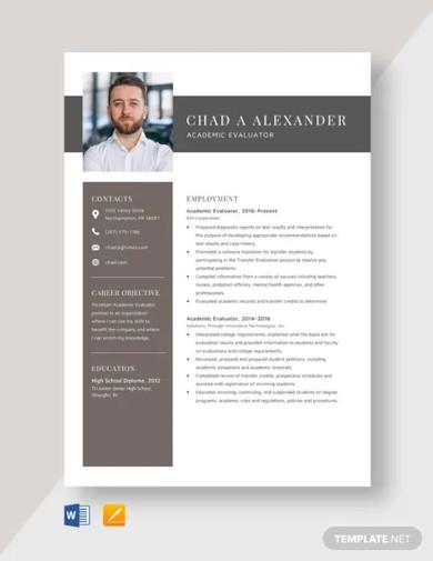 academic evaluator resume template