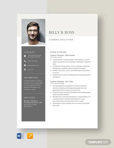 academic facilitator resume template