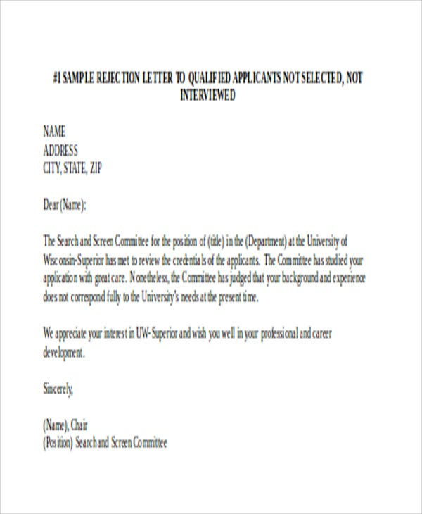 job rejection letters 10 free word pdf format download free