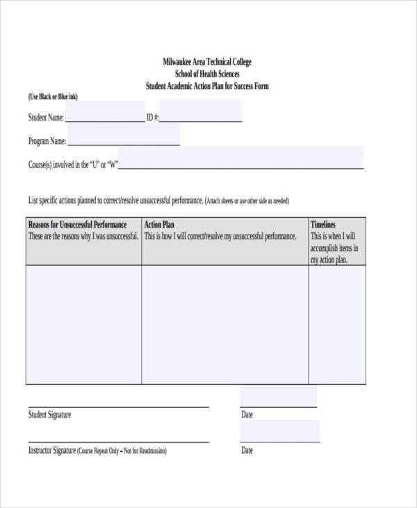 Student Action Plan Templates  Free Sample Example Format