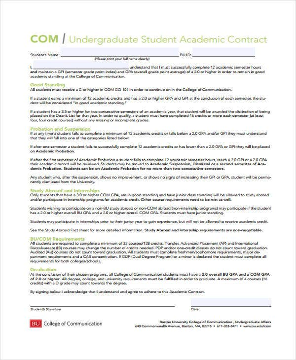 Student Contract Templates  Free Sample Example Format