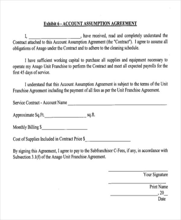 account assumption agreement