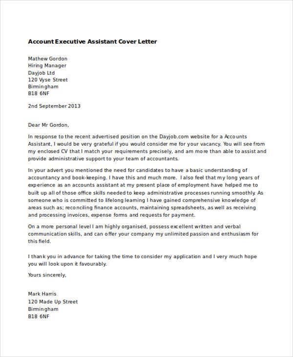 Account Executive Assistant  Executive Assistant Cover Letter