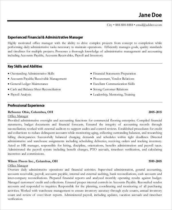 Account & Finance Manager Resume