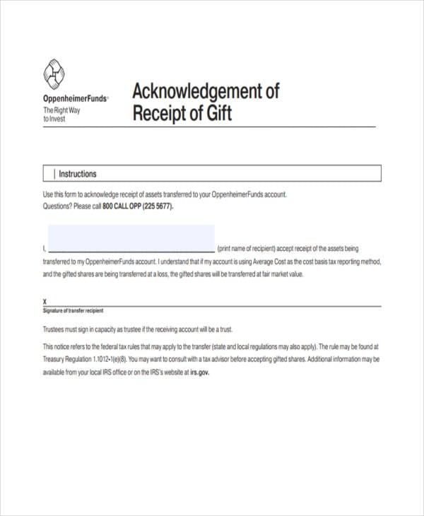 achknowlege gift receipt
