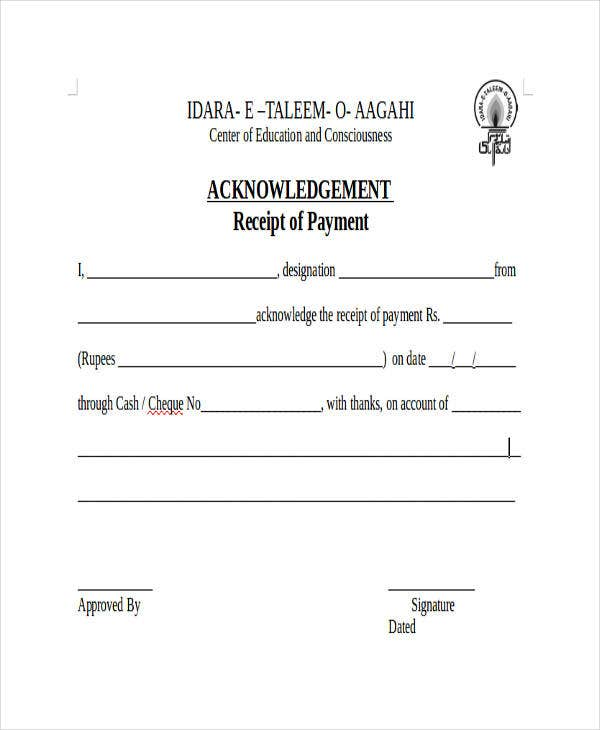 Acknowledgement Receipt Templates 9 Free Word PDF Format – Acknowledgement Receipt Sample