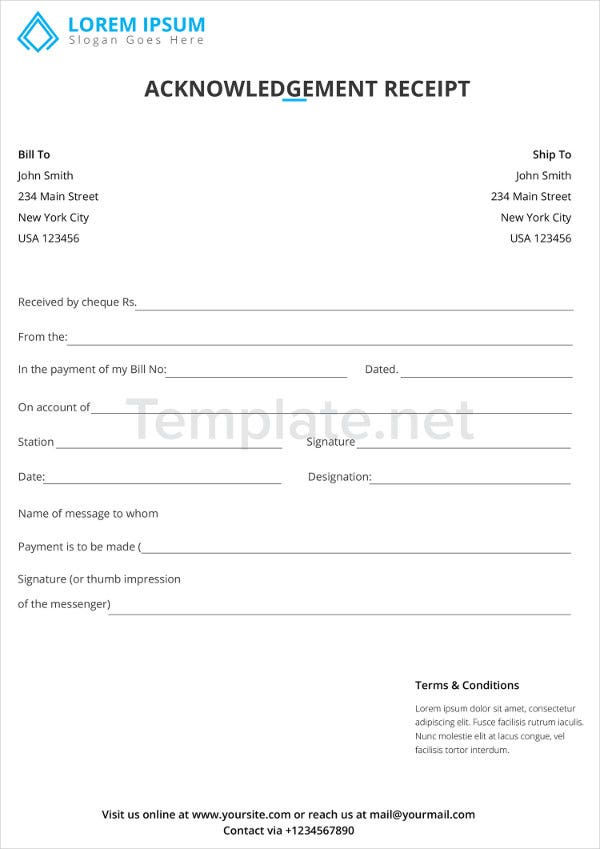 Acknowledgment Receipt Templates
