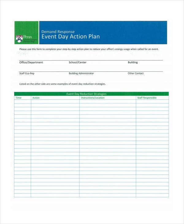 action plan for event planning
