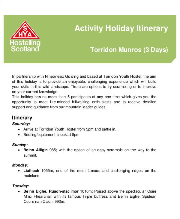 activity holiday itinerary