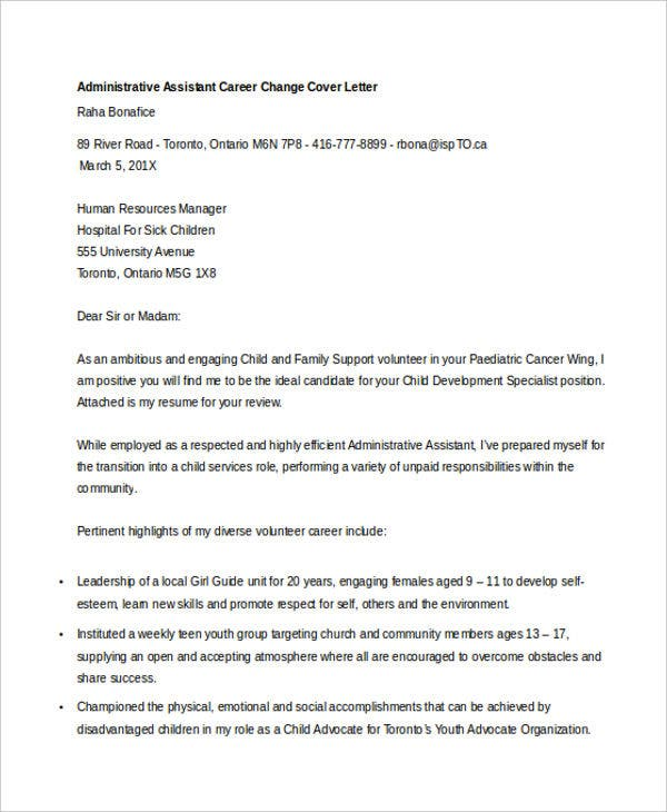 Career change cover letters 7 free word pdf format for Admin assistant cover letter uk