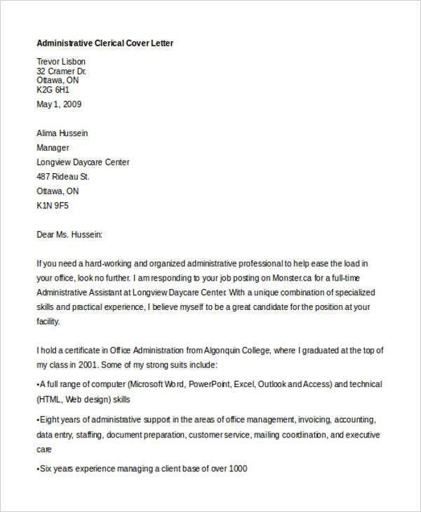 administrative clerical cover letter - Cover Letter Clerical