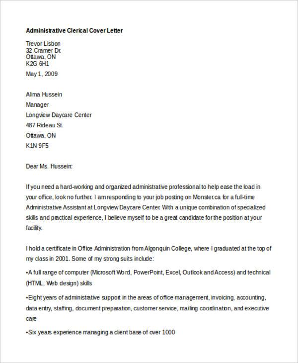 Deputy Clerk No Experience Clerical Job Cover Letter Sample Plks Tk