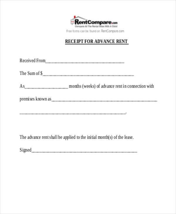 38 Receipt Formats – Apartment Rent Receipt
