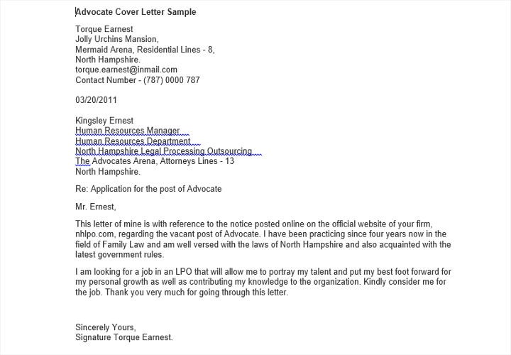 advocate job application letter