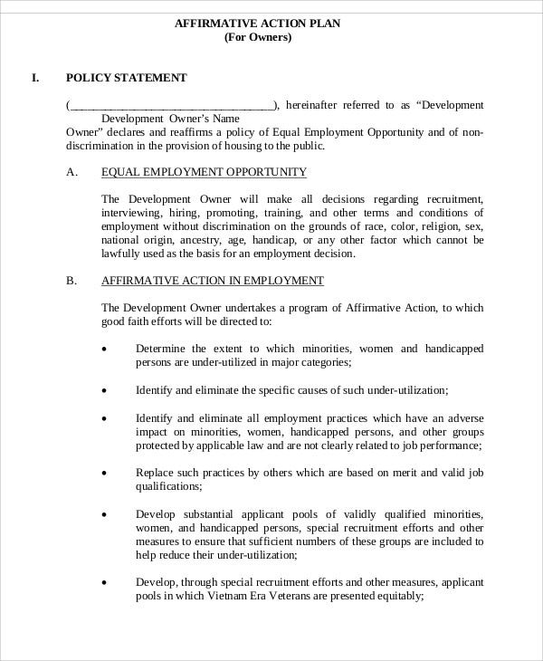 33 free plan templates free premium templates for Affirmative action policy template