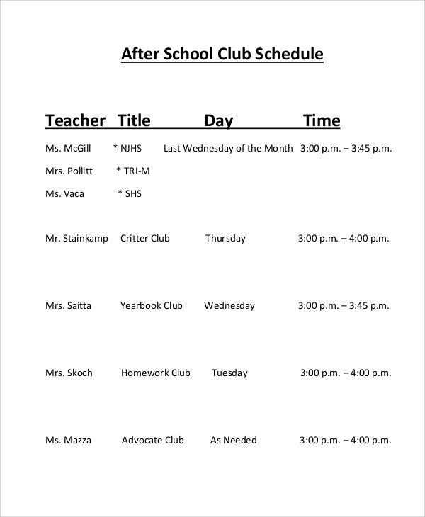picture relating to After School Schedule Printable titled Just after-College Routine Templates -10+ Absolutely free Samples, Illustrations